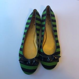Kate Spade New York striped bow flats